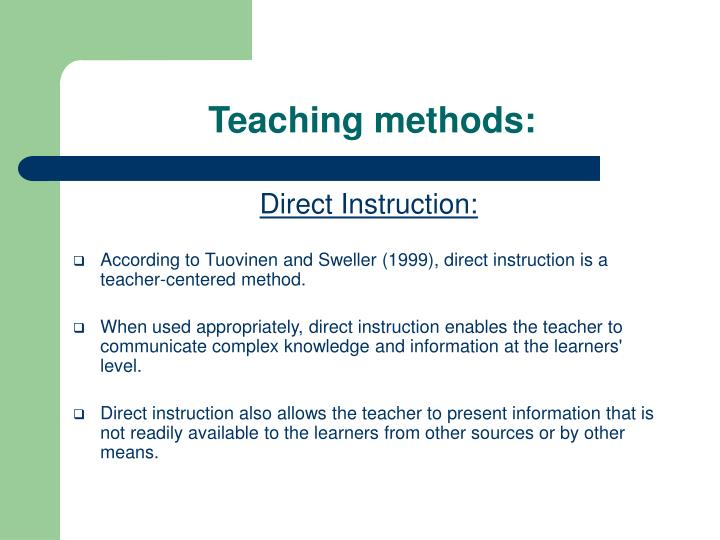 Teaching methods: