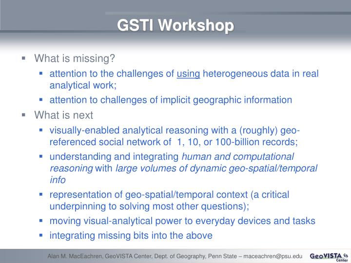 GSTI Workshop