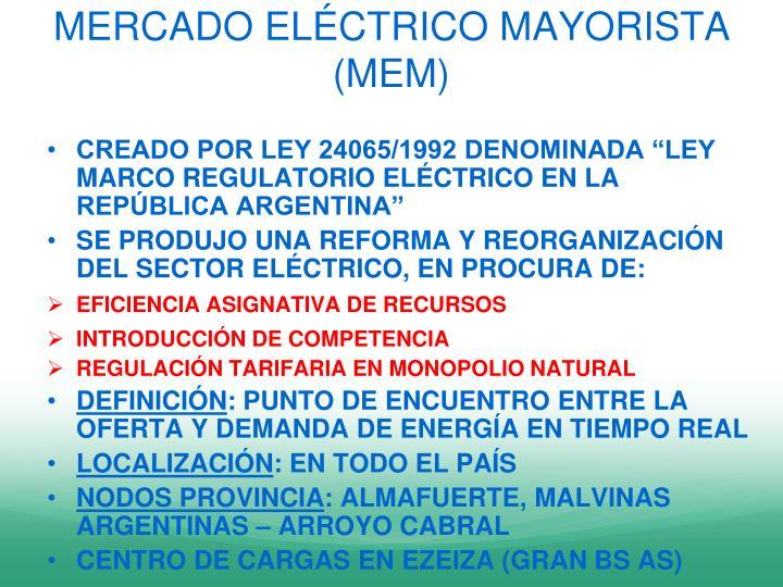 MERCADO ELÉCTRICO MAYORISTA (MEM)