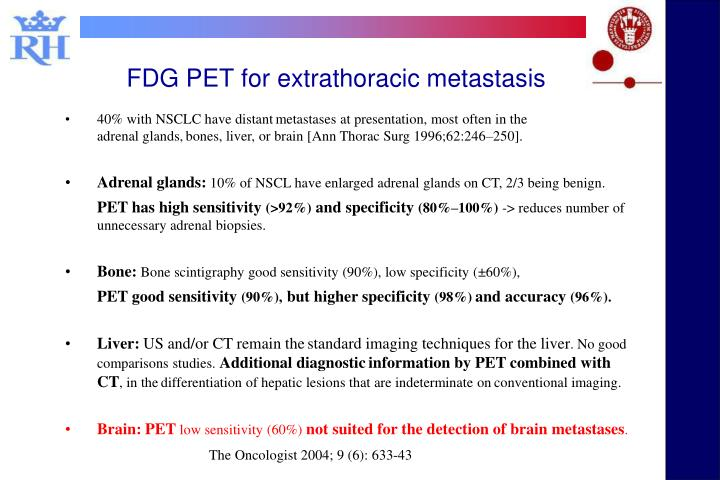 FDG PET for extrathoracic metastasis