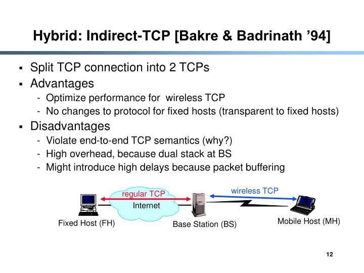 Hybrid: Indirect-TCP [Bakre & Badrinath '94]
