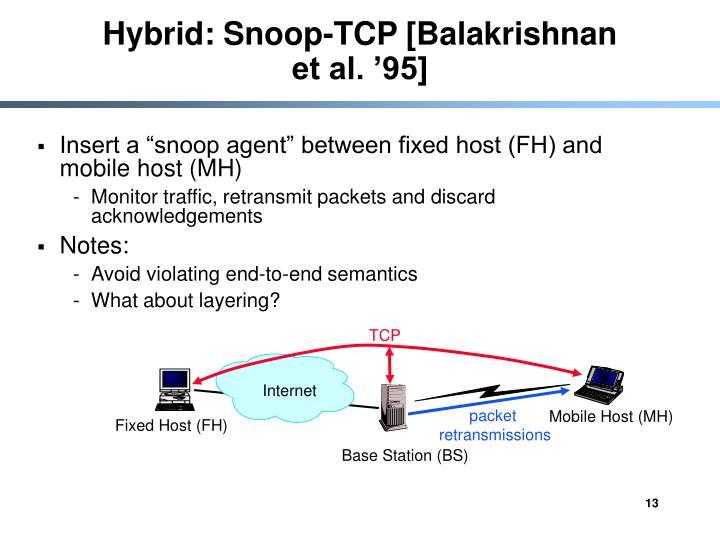 Hybrid: Snoop-TCP [Balakrishnan et al. '95]