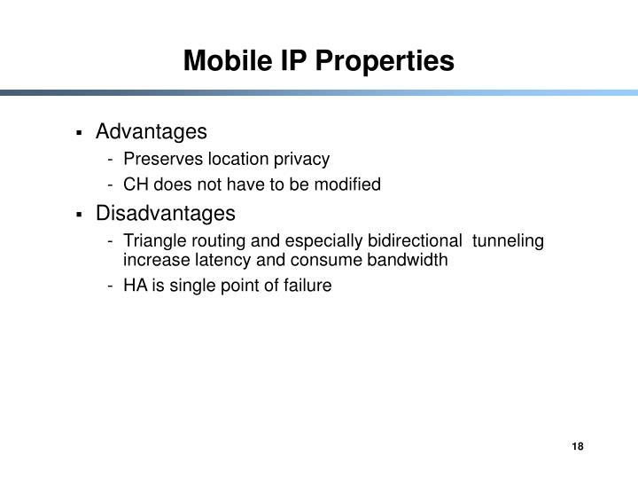 Mobile IP Properties