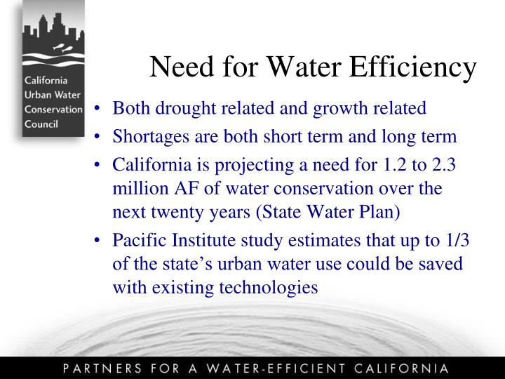 Need for water efficiency