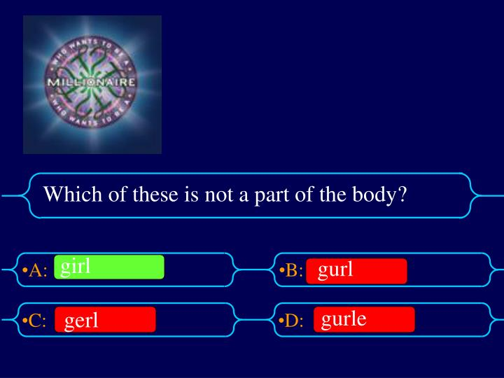 Which of these is not a part of the body?