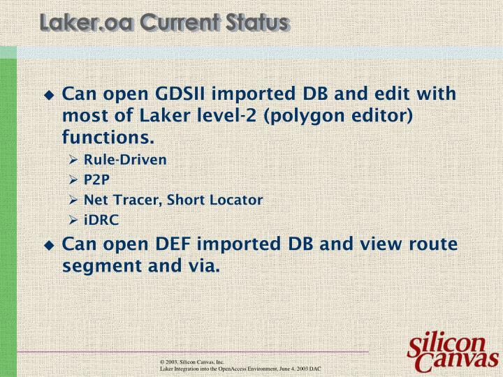 Laker.oa Current Status