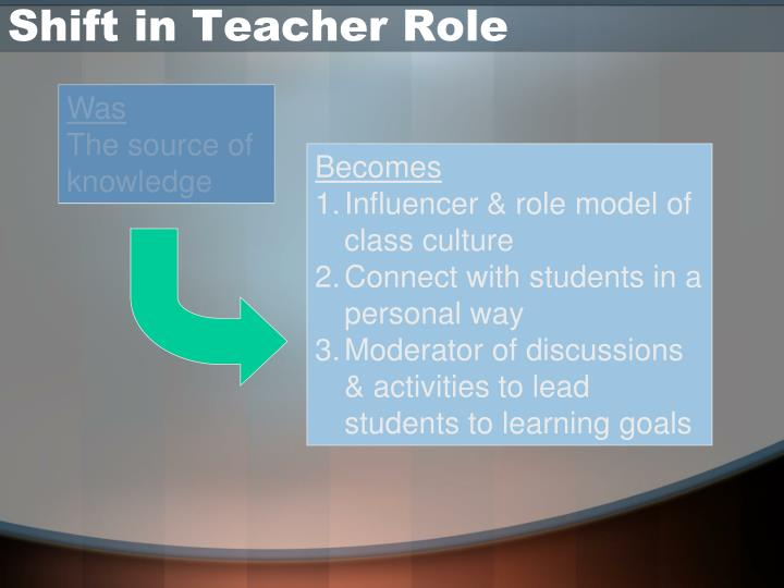 Shift in Teacher Role