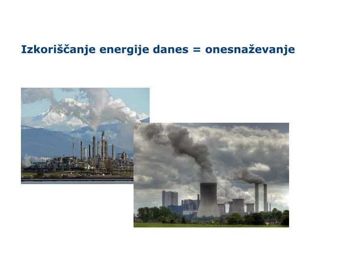 Izkoriščanje energije danes = onesnaževanje