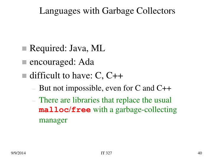 Languages with Garbage Collectors