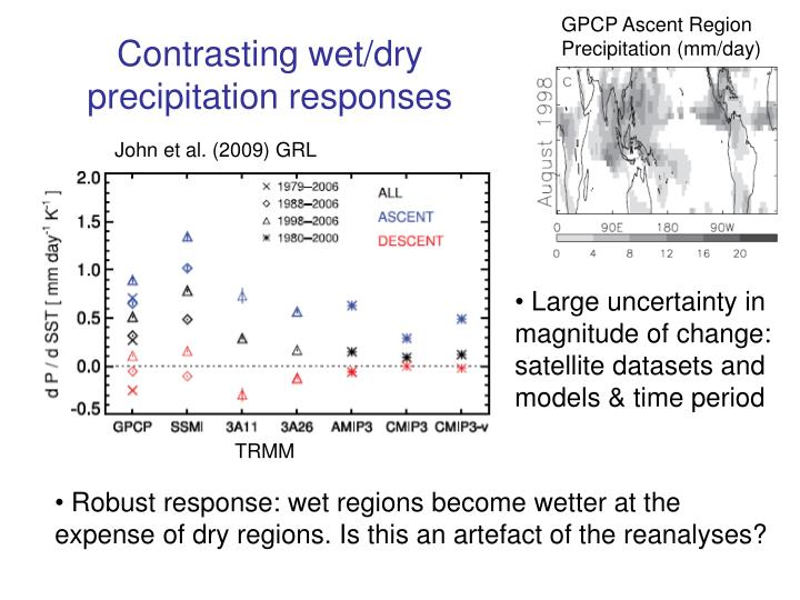 Contrasting wet/dry precipitation responses