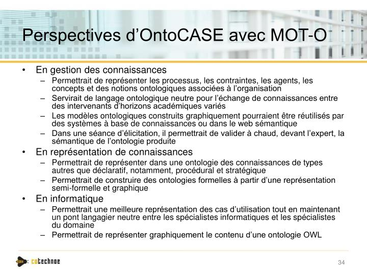 Perspectives d'OntoCASE avec MOT-O