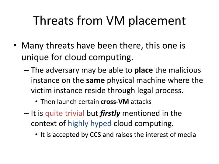 Threats from VM placement