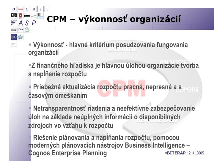 CPM – výkonnosť organizácií