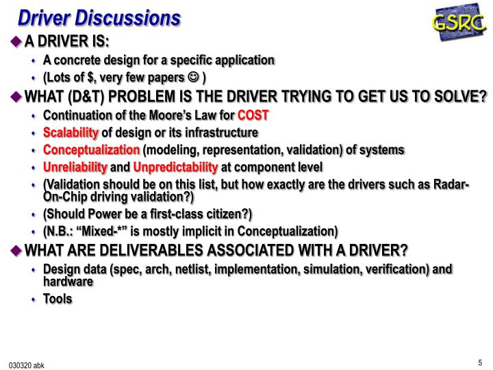 Driver Discussions
