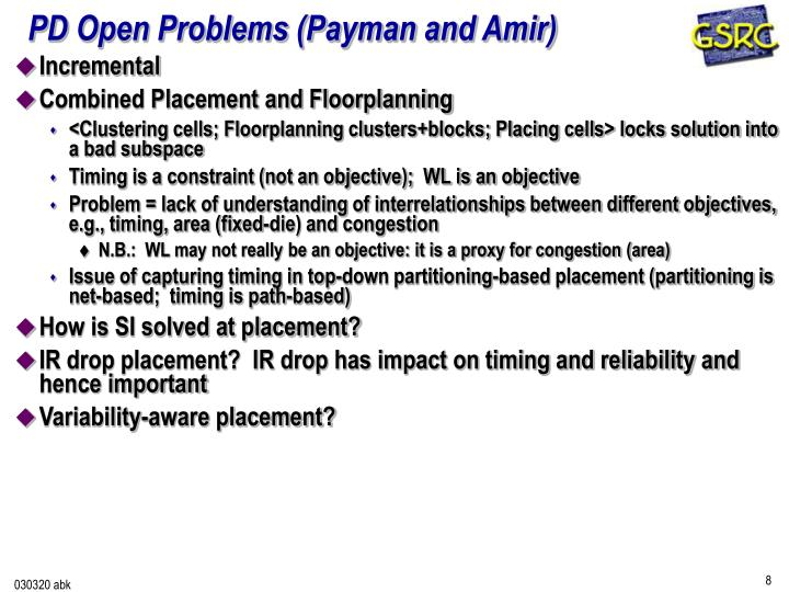 PD Open Problems (Payman and Amir)