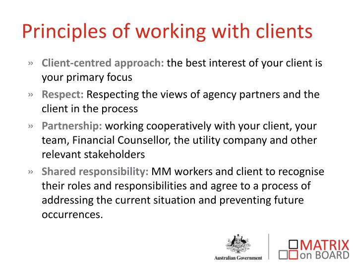 Principles of working with clients