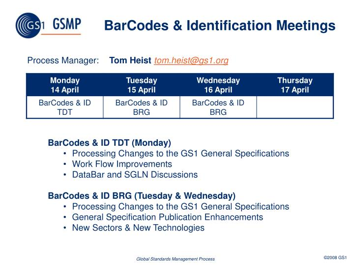 BarCodes & Identification Meetings