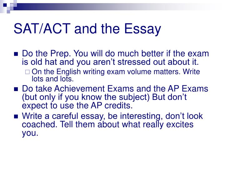 SAT/ACT and the Essay