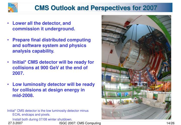 CMS Outlook and Perspectives for 2007