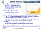 csa06 t0 goals achievements