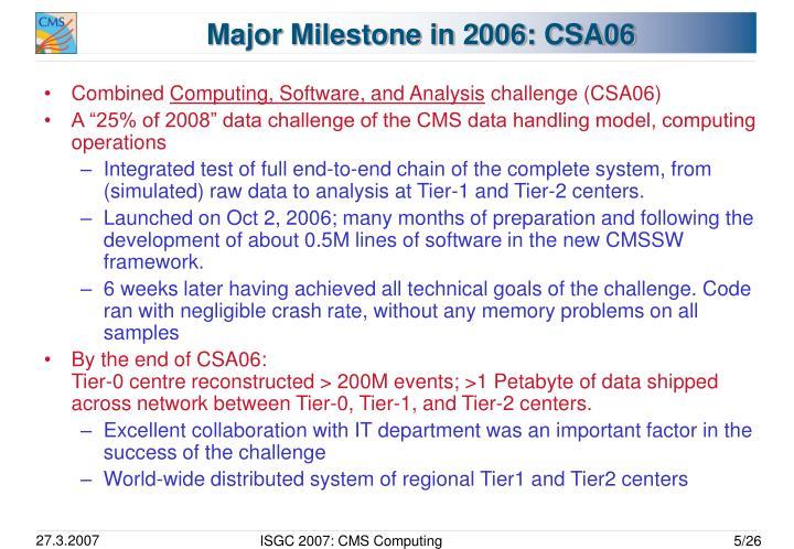 Major Milestone in 2006: CSA06