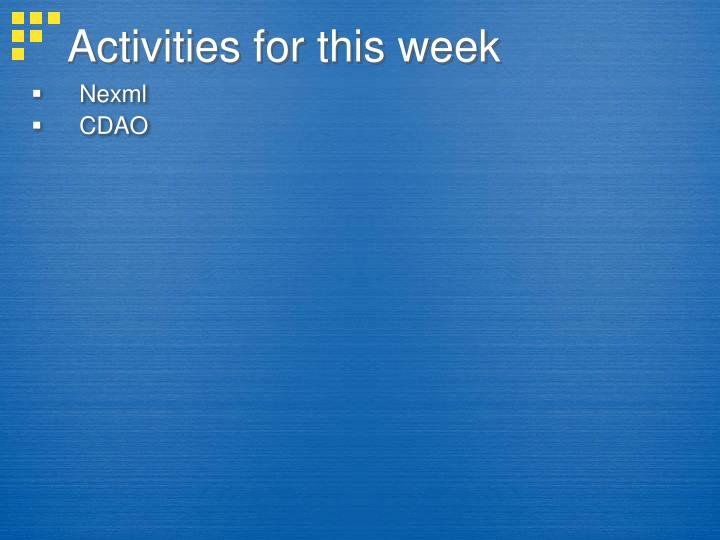 Activities for this week