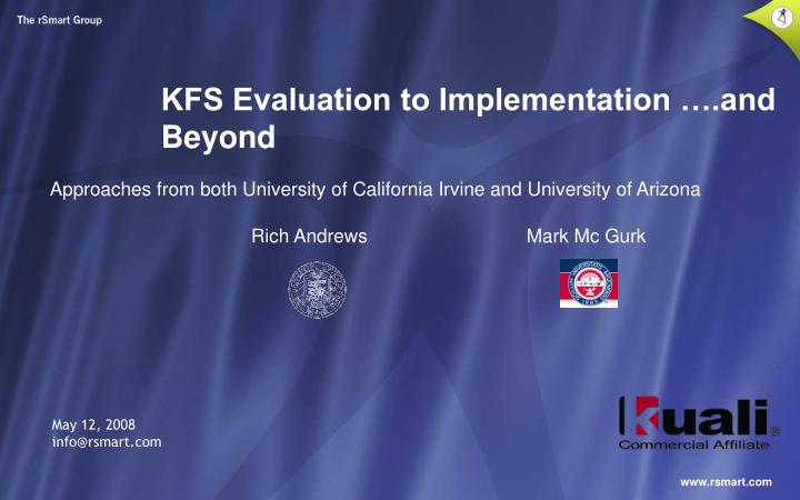 KFS Evaluation to Implementation ….and Beyond