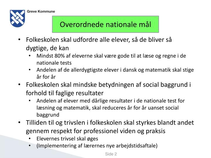 Overordnede nationale mål