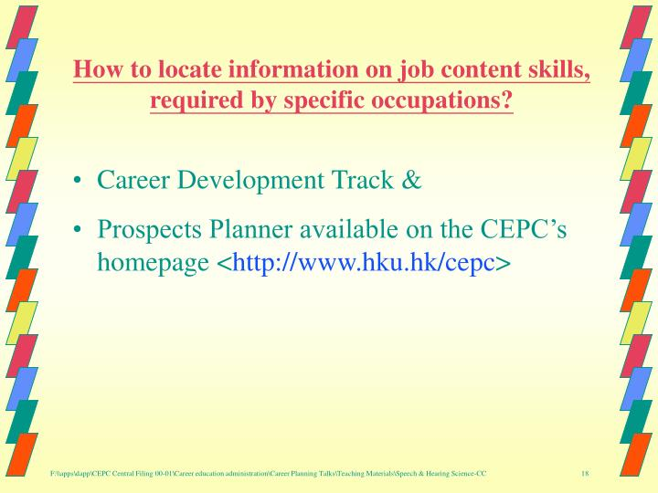 How to locate information on job content skills, required by specific occupations?