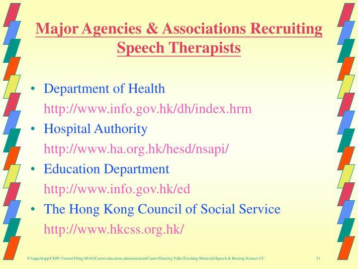 Major Agencies & Associations Recruiting Speech Therapists