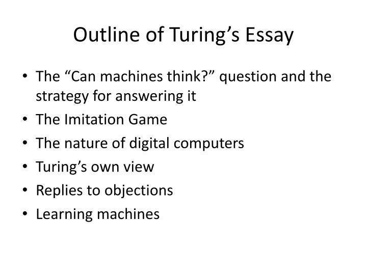 Outline of Turing's Essay