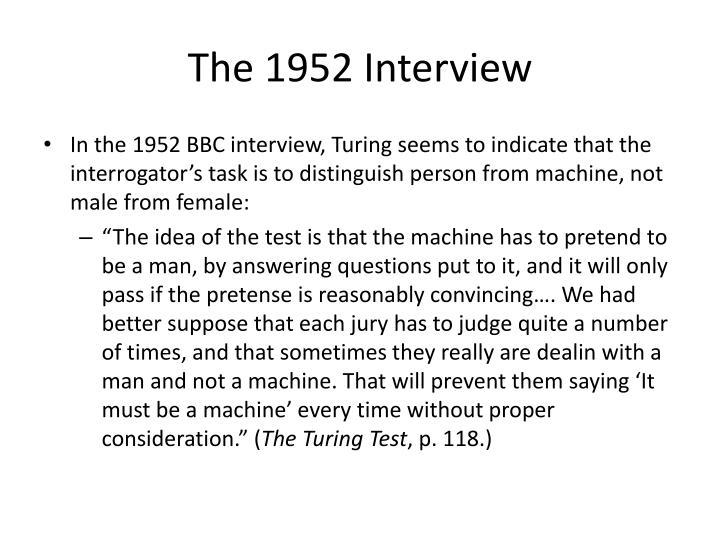The 1952 Interview