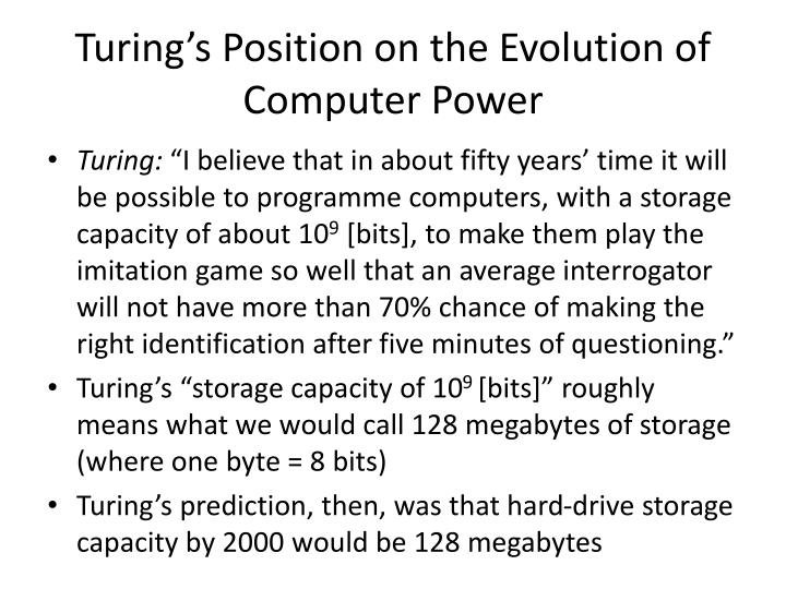 Turing's Position on the Evolution of Computer Power