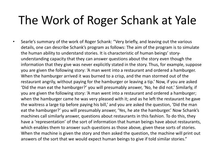 The Work of Roger Schank at Yale