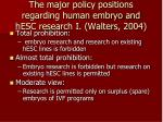the major policy positions regarding human embryo and hesc research i walters 2004