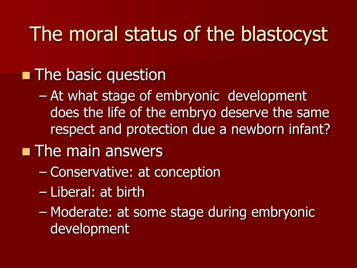 The moral status of the blastocyst
