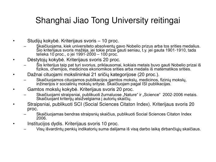 Shanghai Jiao Tong University reitingai