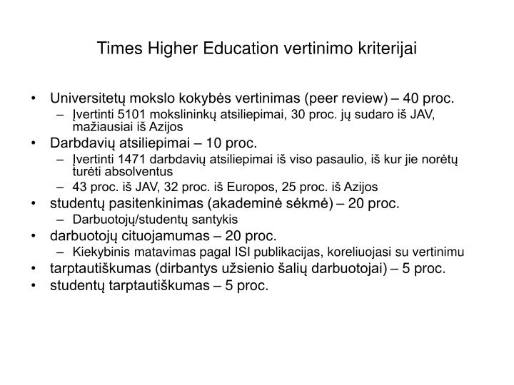 Times Higher Education vertinimo kriterijai