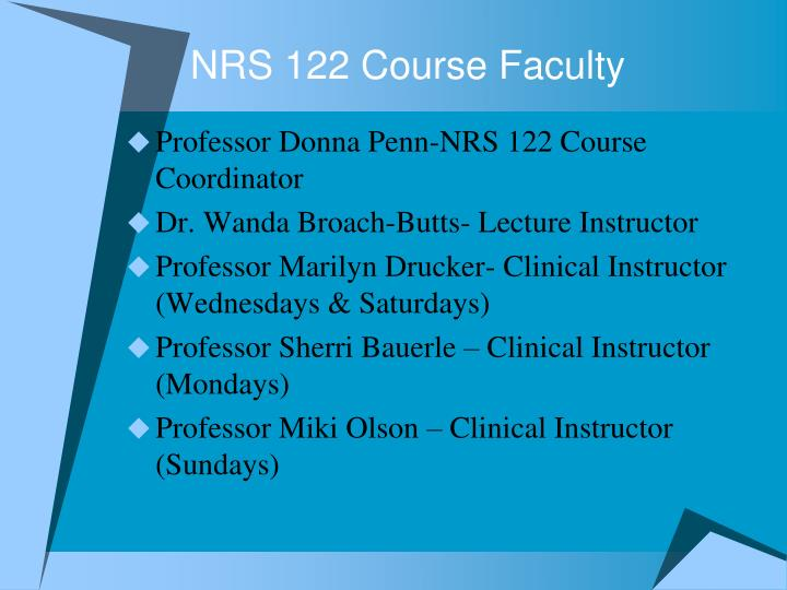 Nrs 122 course faculty