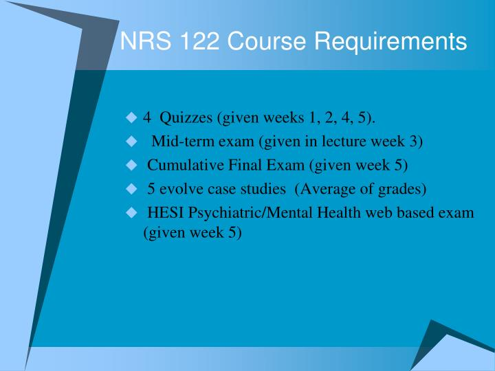 NRS 122 Course Requirements