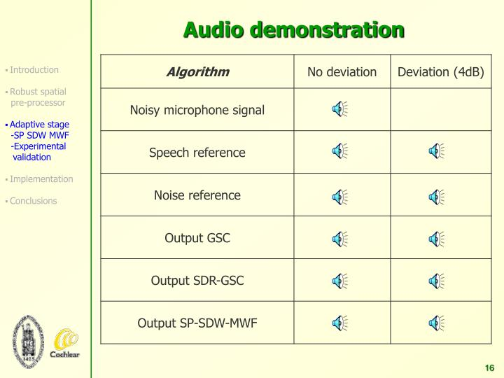 Audio demonstration