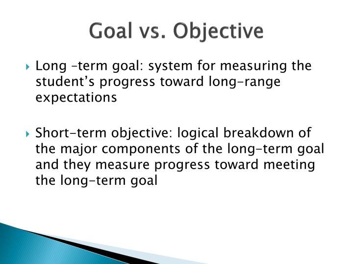 Goal vs. Objective