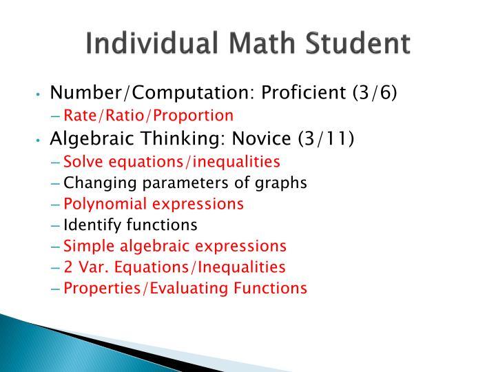 Individual Math Student