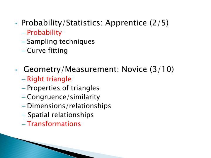 Probability/Statistics: Apprentice (2/5)