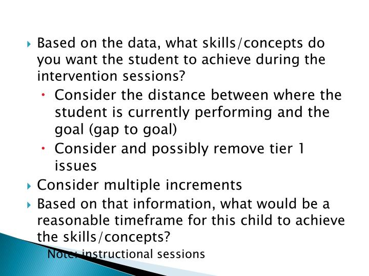 Based on the data, what skills/concepts do you want the student to achieve during the intervention sessions?