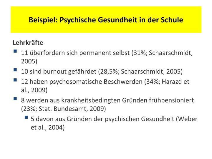 Beispiel: Psychische Gesundheit in der Schule