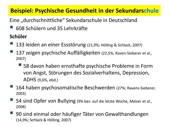Beispiel: Psychische Gesundheit in der Sekundars