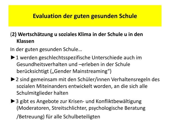 Evaluation der guten gesunden Schule