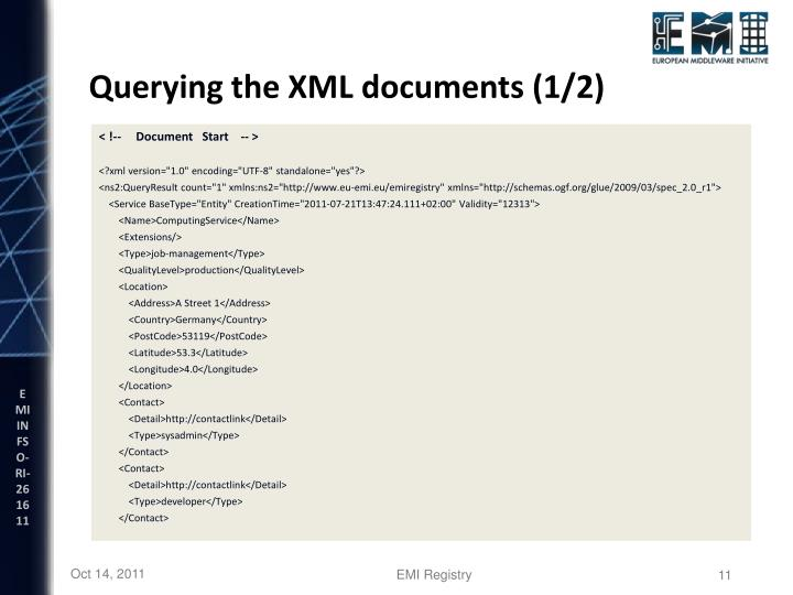 Querying the XML documents (1/2)