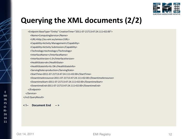 Querying the XML documents (2/2)